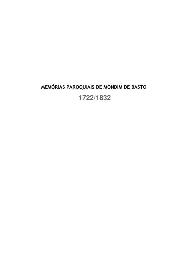 MEMÓRIAS PAROQUIAIS DE MONDIM DE BASTO             1722/1832