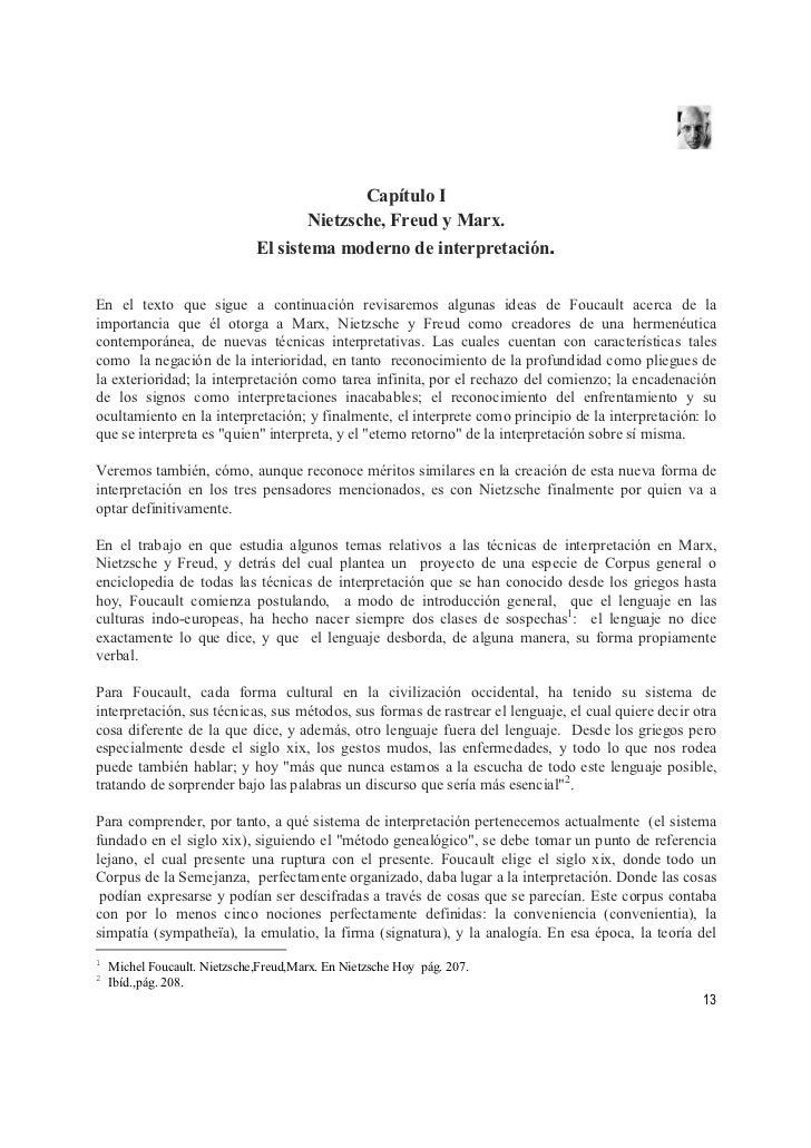 Capítulo I                                      Nietzsche, Freud y Marx.                               El sistema moderno ...