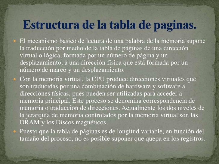 El mecanismo básico de lectura de una palabra de la memoria supone la traducción por medio de la tabla de páginas de una d...