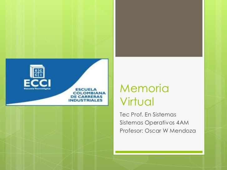 MemoriaVirtualTec Prof. En SistemasSistemas Operativos 4AMProfesor: Oscar W Mendoza