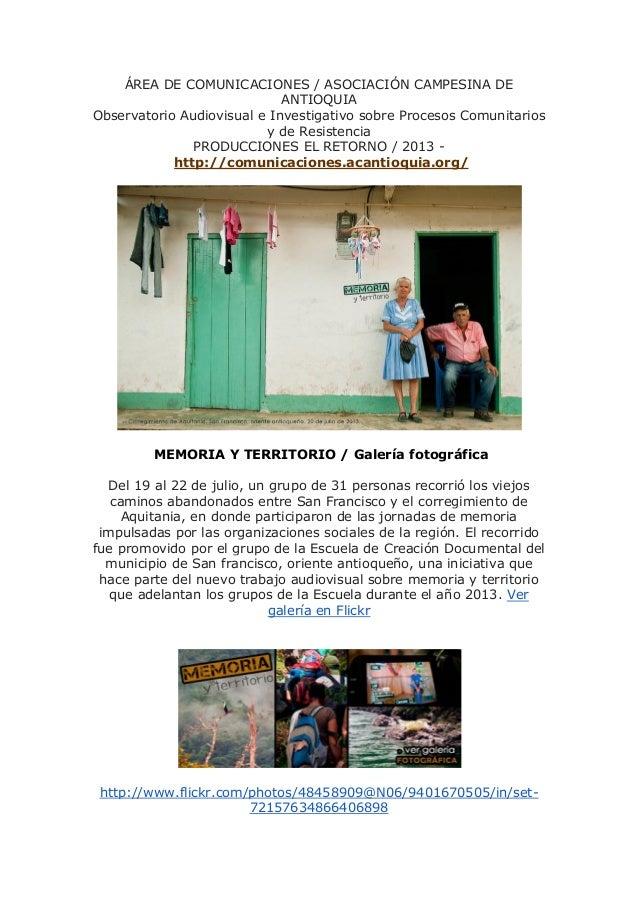 ÁREA DE COMUNICACIONES / ASOCIACIÓN CAMPESINA DE ANTIOQUIA Observatorio Audiovisual e Investigativo sobre Procesos Comunit...