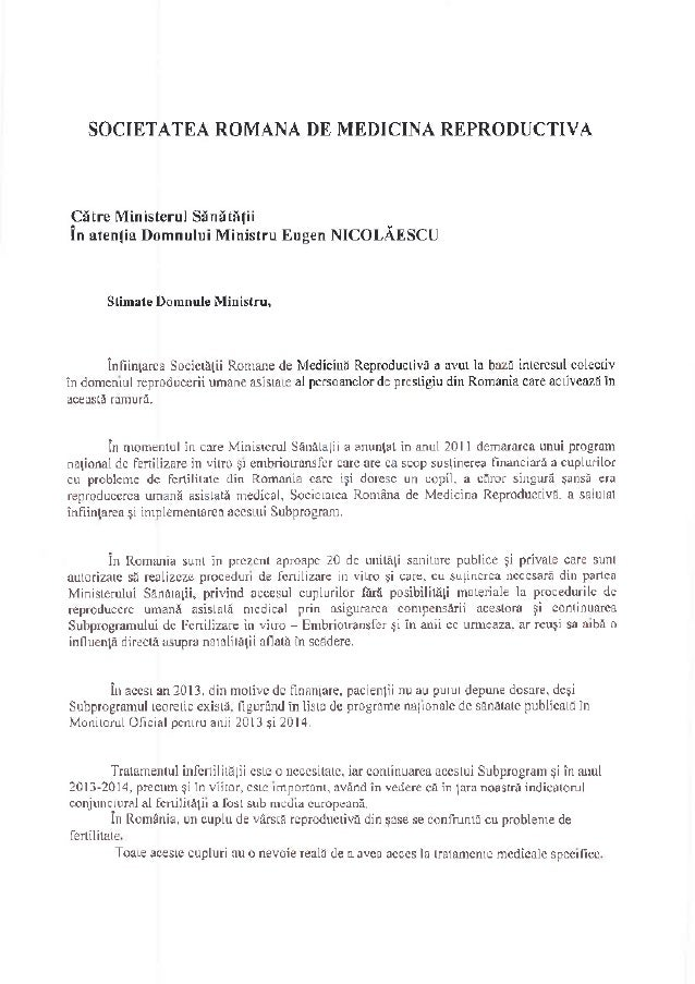 SOCIETATEA ROM{NA DE MEDICIA REPROD( CTIVA Citre Ministerul Stnttnfii in !ten1i! DomnuluiMinistru Eug€n NIcOLAf,SCU Srimar...