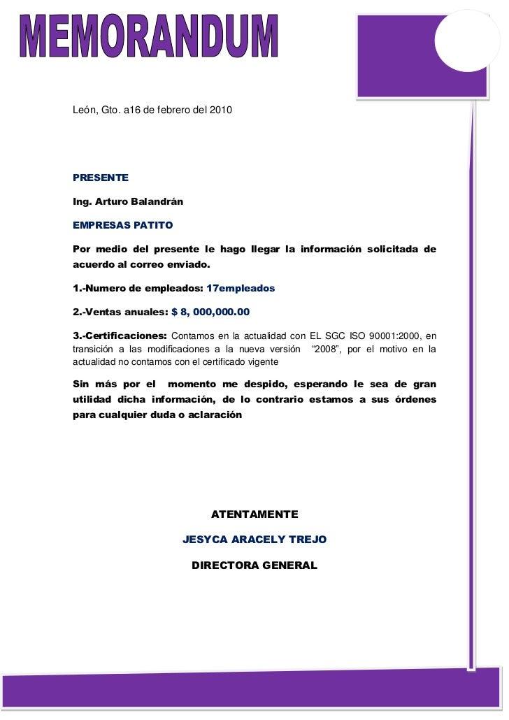 León, Gto. a16 de febrero del 2010PRESENTEIng. Arturo BalandránEMPRESAS PATITOPor medio del presente le hago llegar la inf...