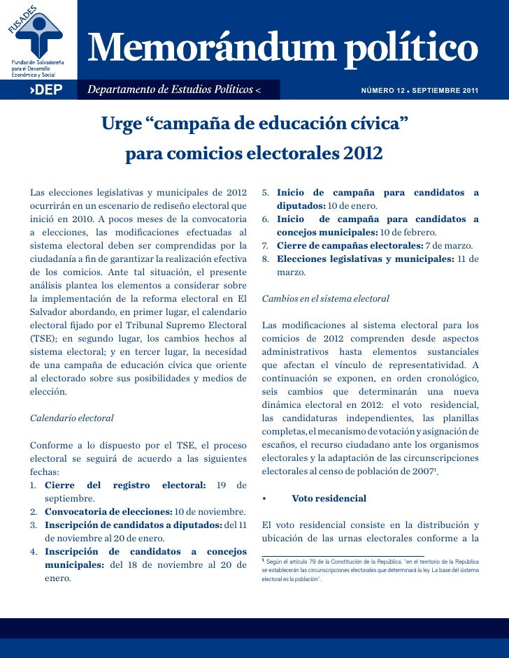 "NÚMERO 12 ! SEPTIEMBRE 2011                 Urge ""campaña de educación cívica""                       para comicios elector..."