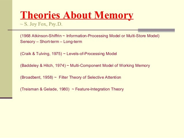 models of memory and theories Memory is the faculty of the  the function of long-term memory is to store data through various categorical models or  throwing theories drawn from the.