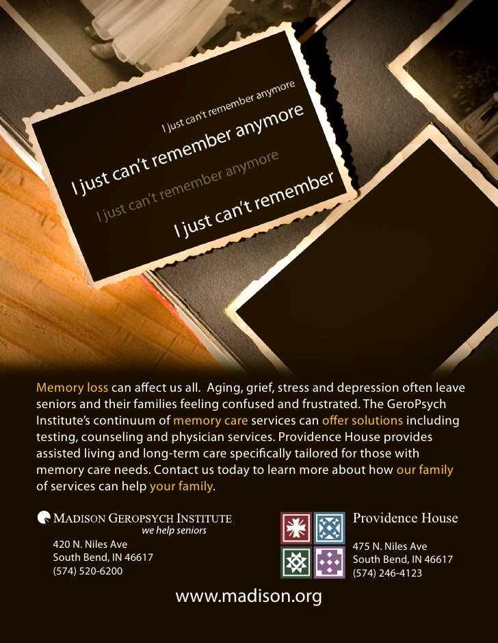 Memory loss can affect us all. Aging, grief, stress and depression often leave seniors and their families feeling confused...