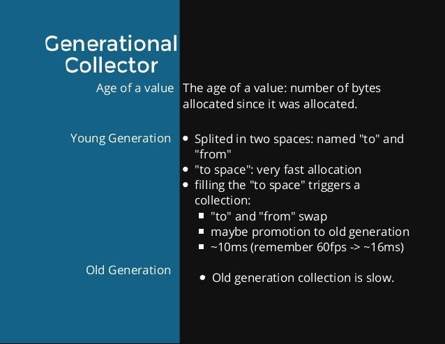 Generational Collector Ageofavalue YoungGeneration OldGeneration Theageofavalue:numberofbytes allocatedsinc...