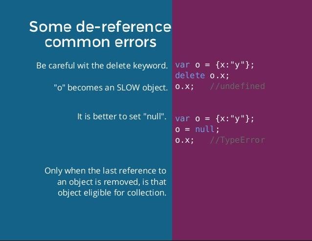 """Somede-reference commonerrors Becarefulwitthedeletekeyword. """"o""""becomesanSLOWobject. varo={x:""""y""""}; deleteo...."""
