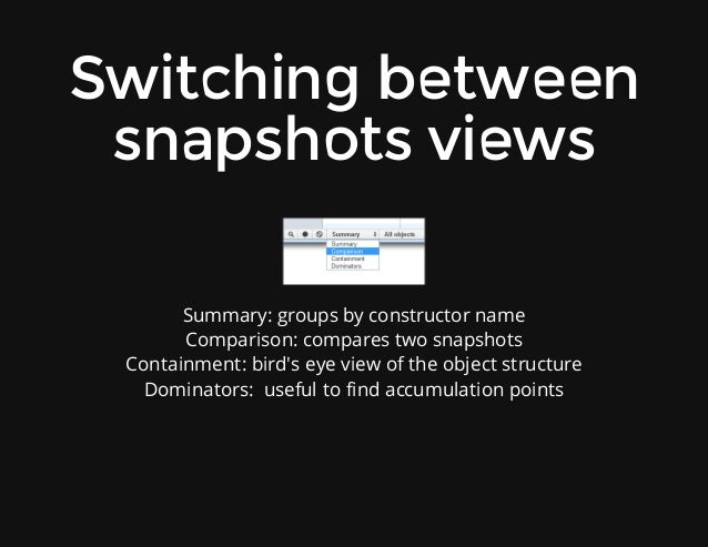 Switchingbetween snapshotsviews Summary:groupsbyconstructorname Comparison:comparestwosnapshots Containment:bird...