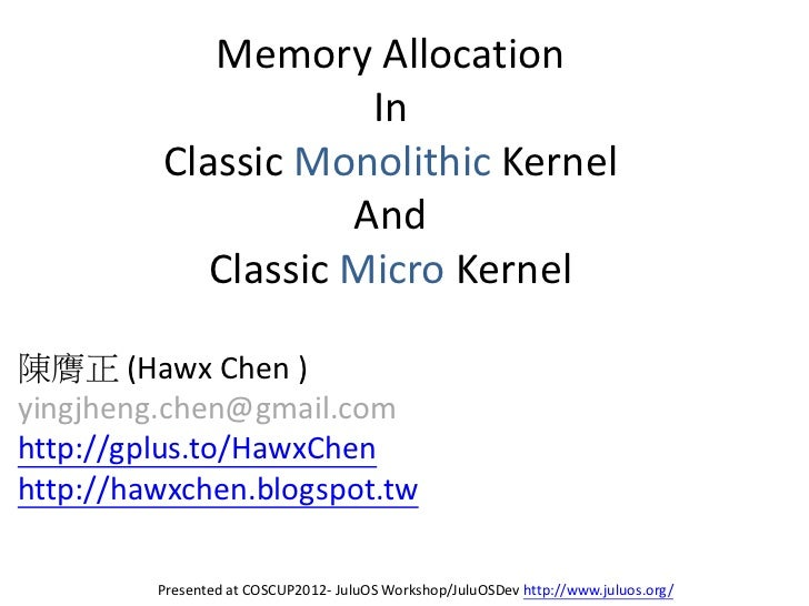Memory Allocation                     In         Classic Monolithic Kernel                    And            Classic Micro...