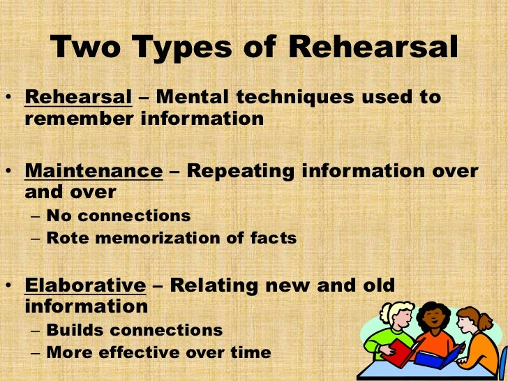 elaborate rehearsal Need it for the finals explain in detail concept of elaborative rehearsal knowledge consumer behavior for example, you need to remember term ''neuron what i.