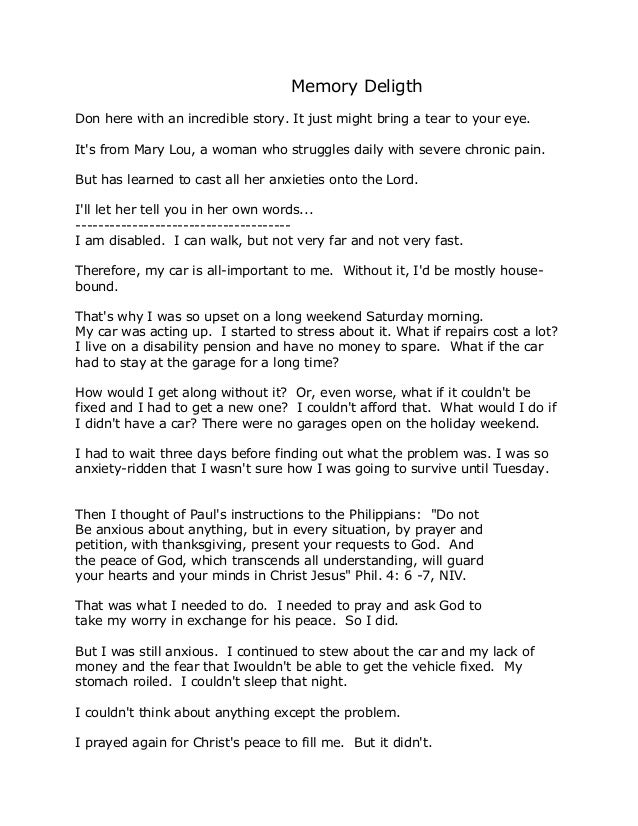 Memory Deligth  Don here with an incredible story. It just might bring a tear to your eye.  It's from Mary Lou, a woman wh...