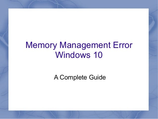 how to fix memory management error windows 10
