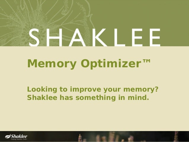 Memory Optimizer™ Looking to improve your memory? Shaklee has something in mind.