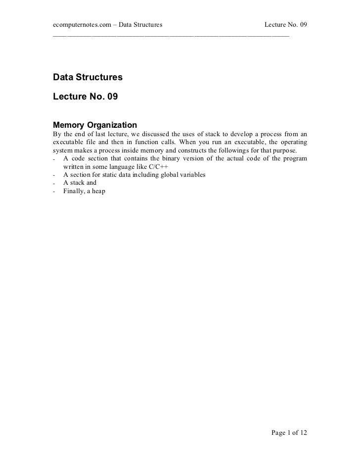 ecomputernotes.com Data Structures                          Lecture No. 09________________________________________________...