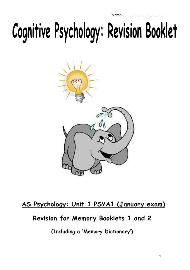 1AS Psychology: Unit 1 PSYA1 (January exam)Revision for Memory Booklets 1 and 2(Including a 'Memory Dictionary')Name………………...