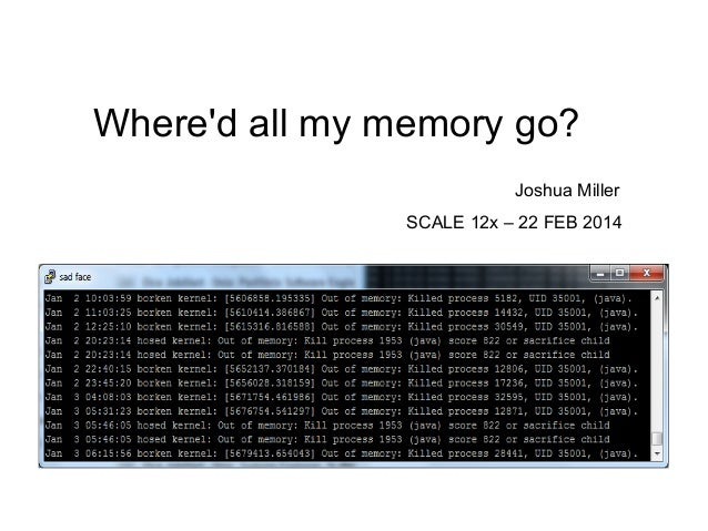 Where'd all my memory go? Joshua Miller SCALE 12x – 22 FEB 2014