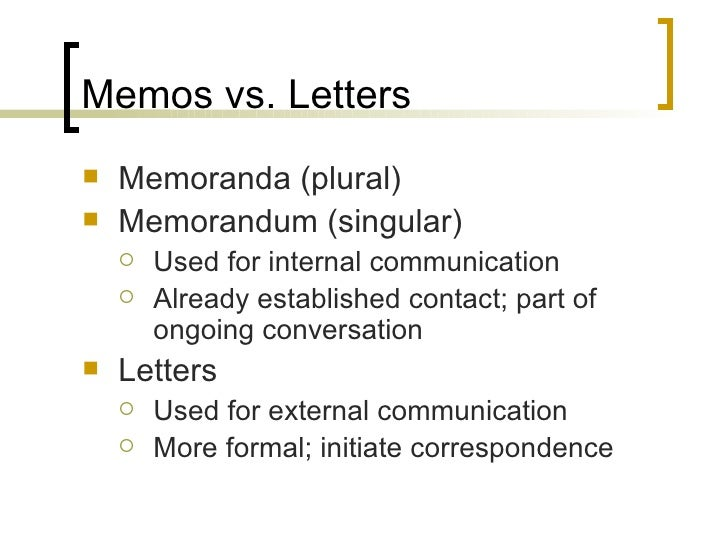 memos letters and email correspondence
