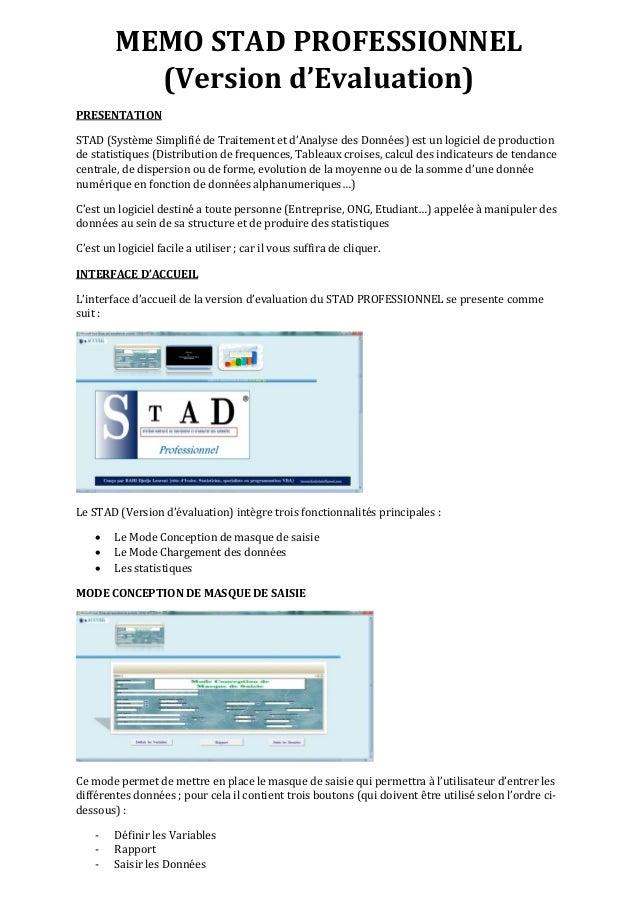 MEMO STAD PROFESSIONNEL (Version d'Evaluation) PRESENTATION STAD (Système Simplifié de Traitement et d'Analyse des Données...