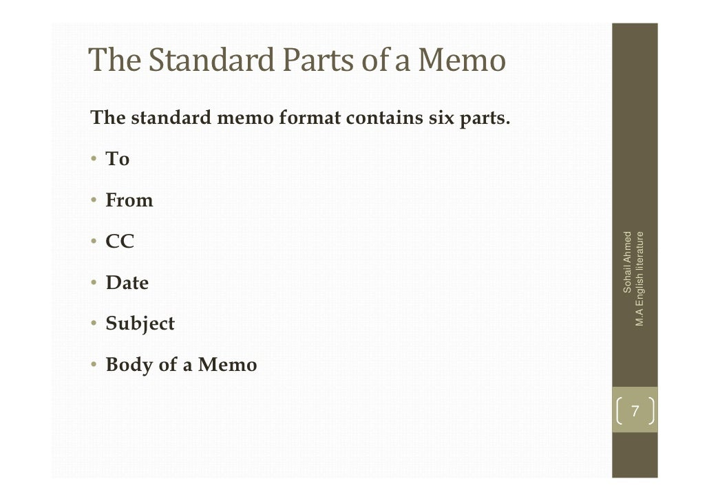 how to format a memo