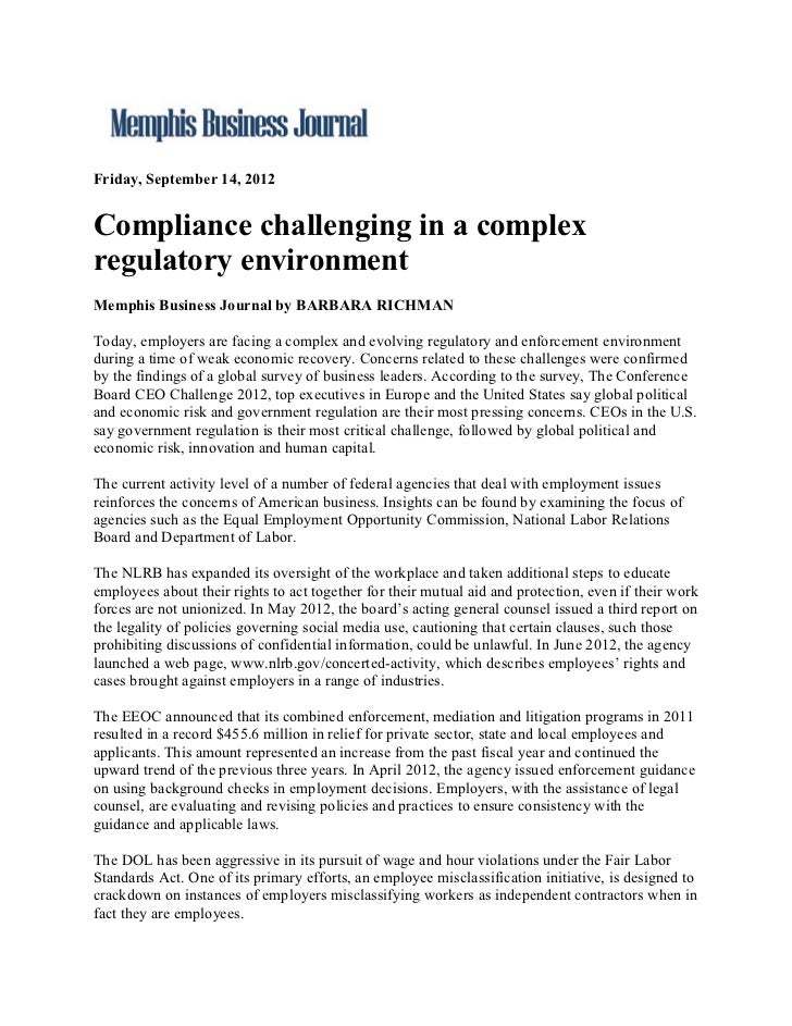 Friday, September 14, 2012Compliance challenging in a complexregulatory environmentMemphis Business Journal by BARBARA RIC...