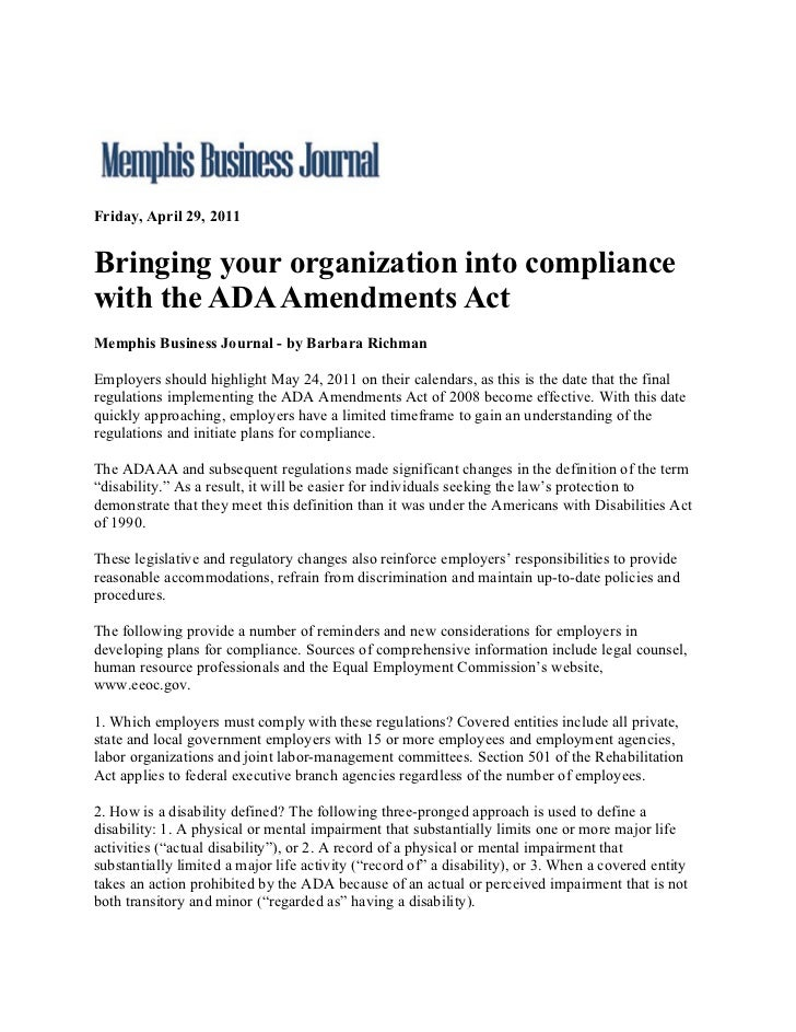 Friday, April 29, 2011Bringing your organization into compliancewith the ADA Amendments ActMemphis Business Journal - by B...