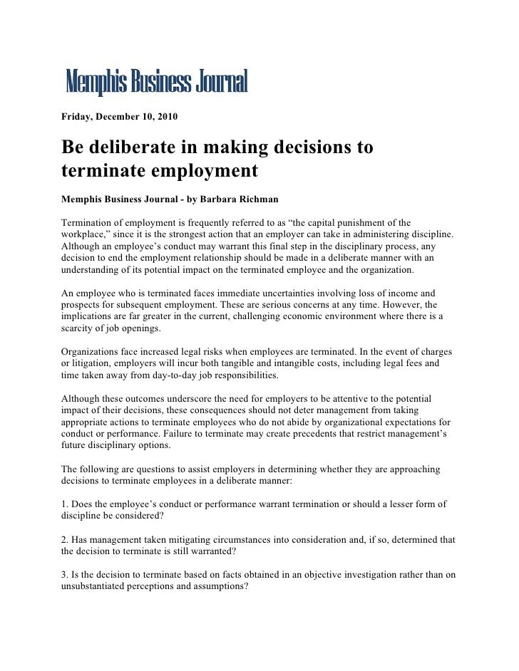 Friday, December 10, 2010Be deliberate in making decisions toterminate employmentMemphis Business Journal - by Barbara Ric...