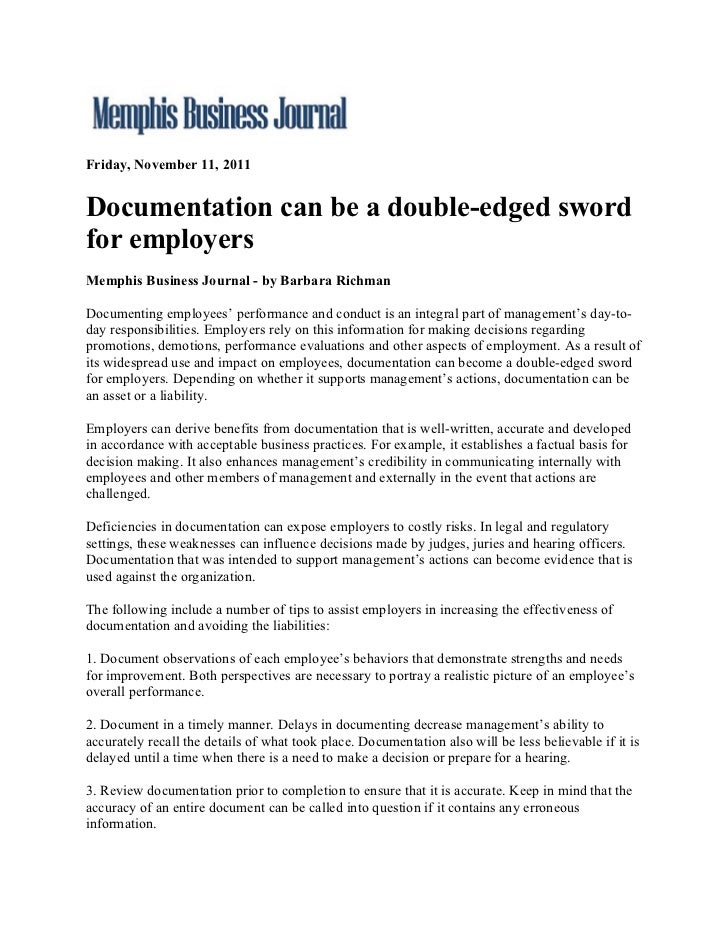 Memphis Business Journal.Documentation Can Be A Double Edged Sword For Employers11.11.11