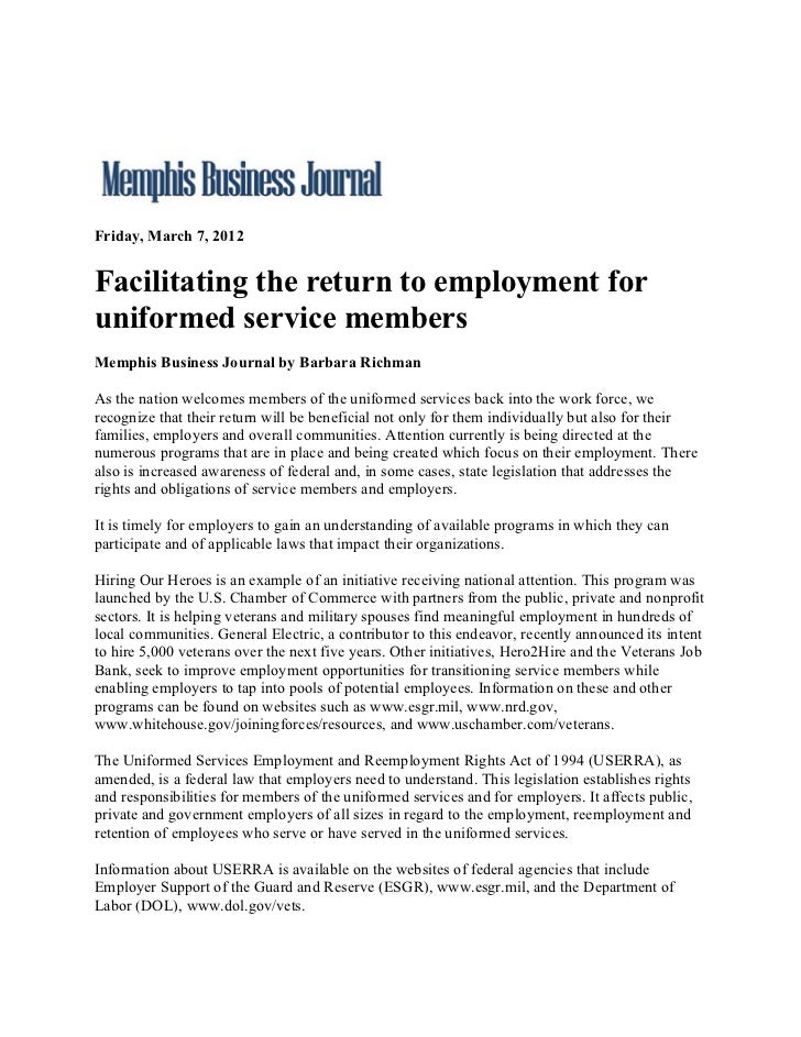 Friday, March 7, 2012Facilitating the return to employment foruniformed service membersMemphis Business Journal by Barbara...