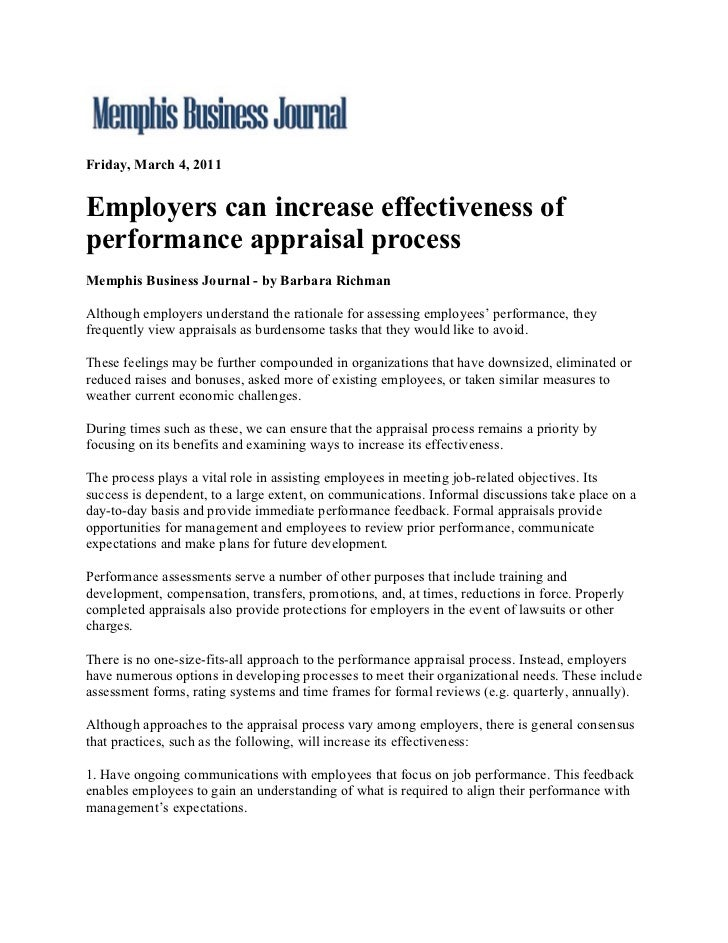 Friday, March 4, 2011Employers can increase effectiveness ofperformance appraisal processMemphis Business Journal - by Bar...