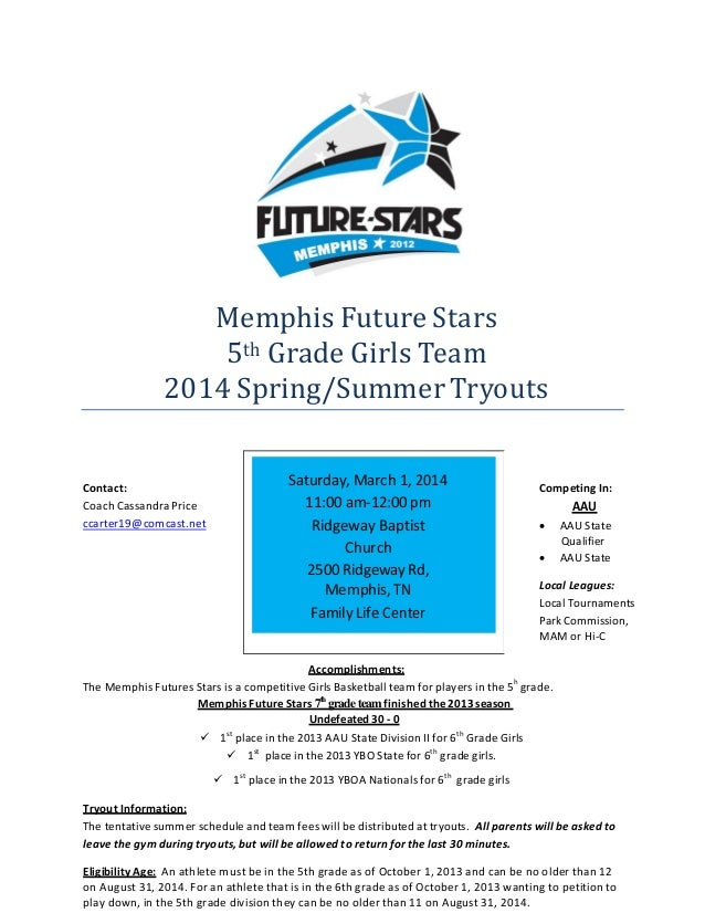 MemphisFutureStars 5thGradeGirlsTeam 2014Spring/SummerTryouts         Contact: CoachCassandra...