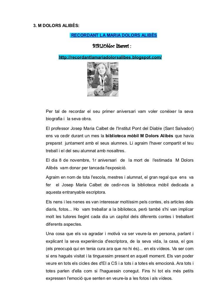 3. M DOLORS ALIBÉS:                  RECORDANT LA MARIA DOLORS ALIBÉS                                 BIBLIObloc literari ...