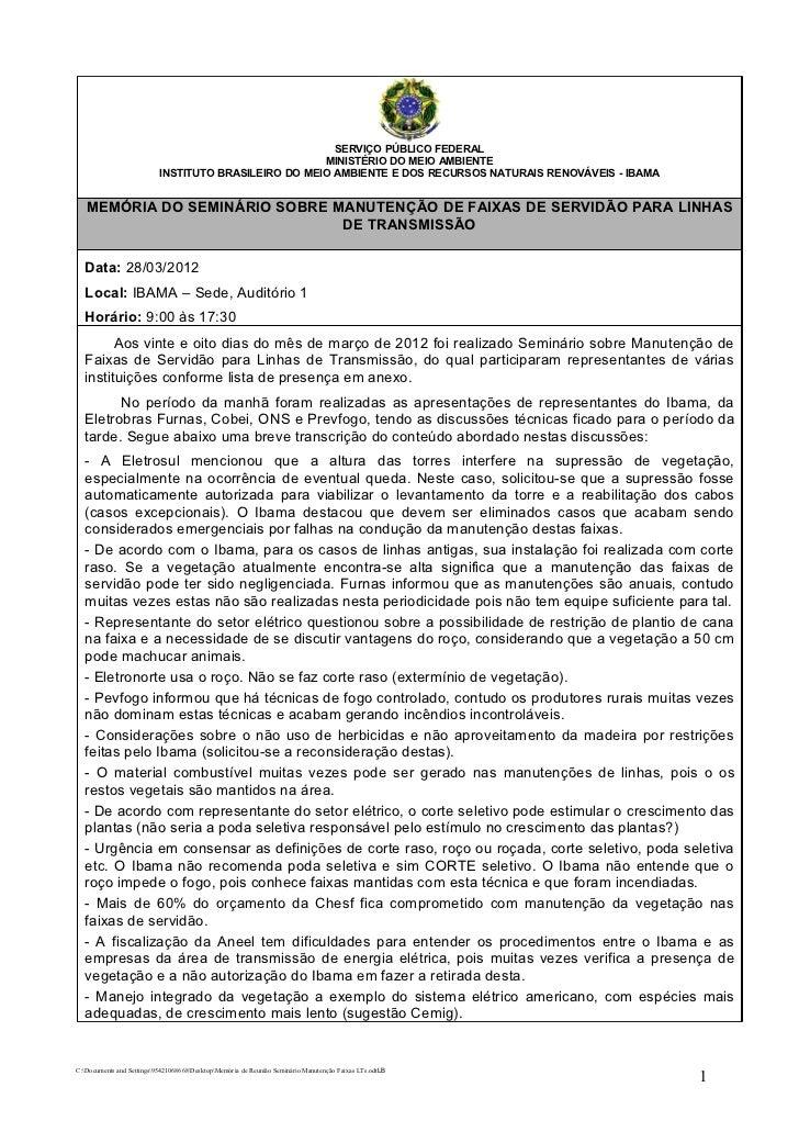 SERVIÇO PÚBLICO FEDERAL                                                      MINISTÉRIO DO MEIO AMBIENTE                  ...