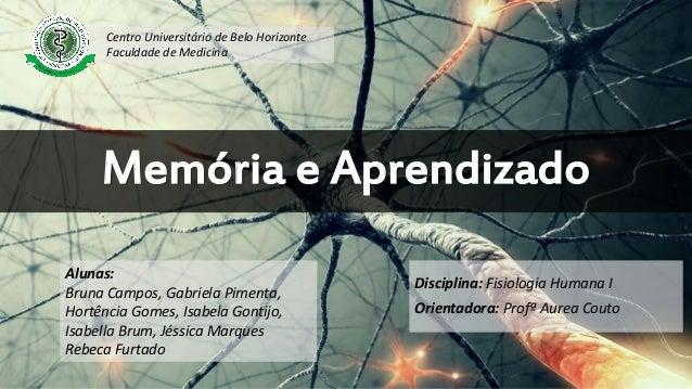 Memória e Aprendizado Disciplina: Fisiologia Humana I Orientadora: Profª Aurea Couto Alunas: Bruna Campos, Gabriela Piment...