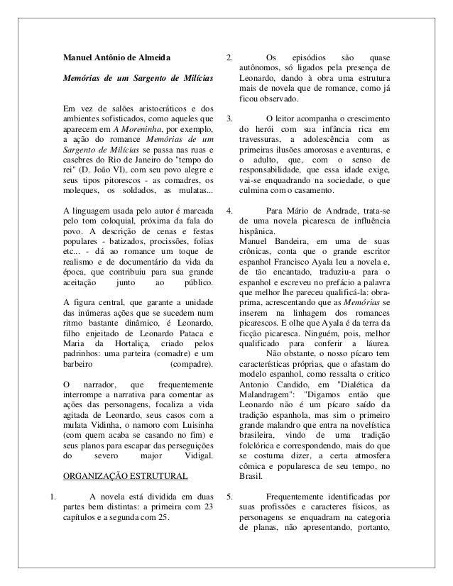 Manuel Antônio de Almeida Memórias de um Sargento de Milícias Em vez de salões aristocráticos e dos ambientes sofisticados...