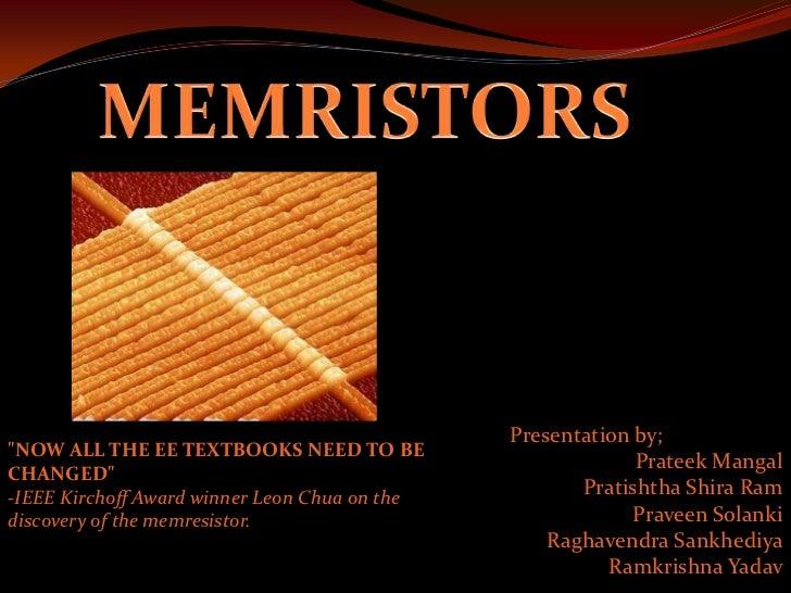 Memristor Seminar Report and ppt