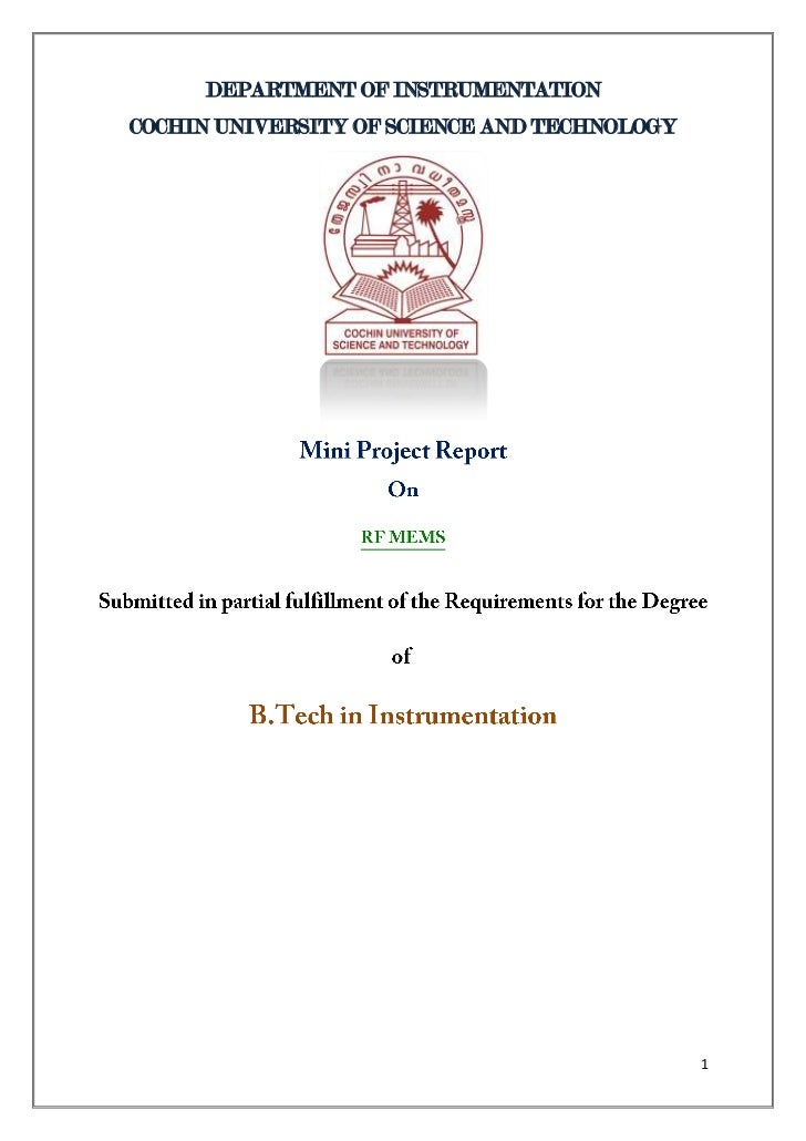DEPARTMENT OF INSTRUMENTATIONCOCHIN UNIVERSITY OF SCIENCE AND TECHNOLOGY                                              1