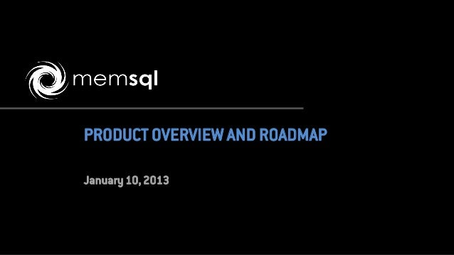 PRODUCT OVERVIEW AND ROADMAPJanuary 10, 2013