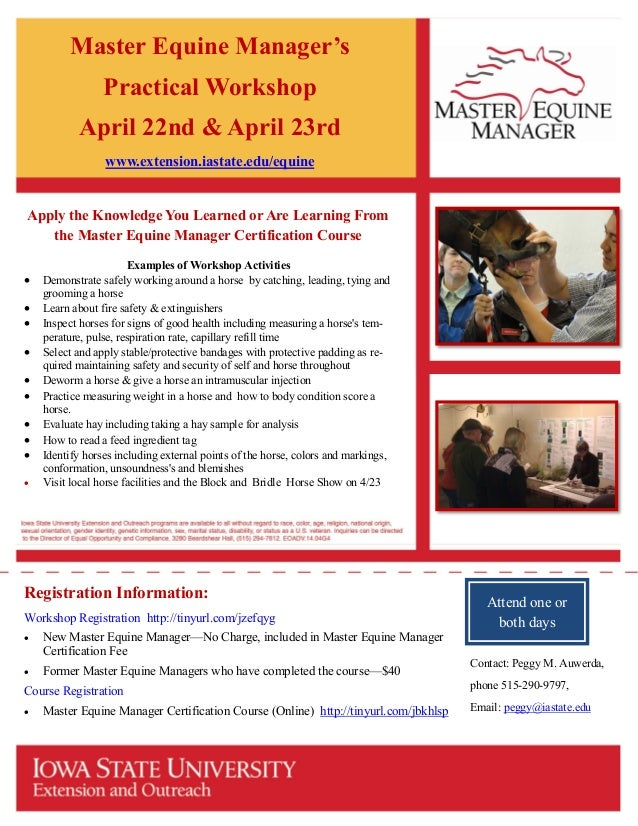 Isu Master Equine Manager Certification Practical Workshop