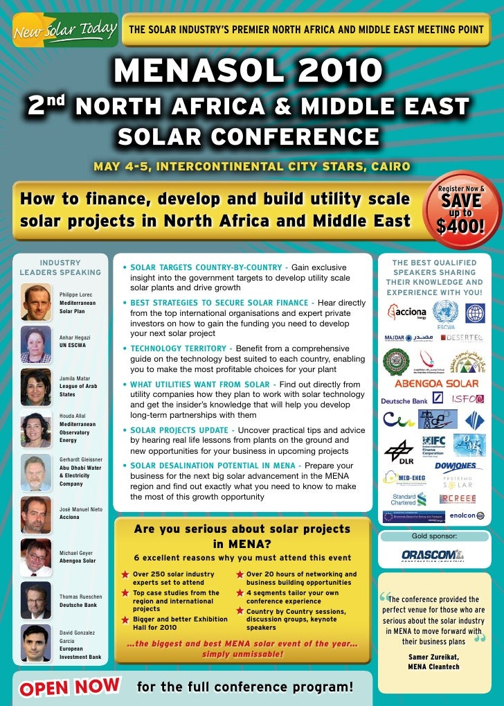 The Solar InduSTry'S PremIer norTh afrIca and mIddle eaST meeTIng PoInT                                MENASOL 2010  2nd N...