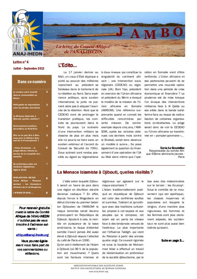 J AMBO La lettre du Comité Afrique de l'ANAJ-IHEDN Lettre n°4  L'Edito...  Juillet— Septembre 2012  Dans ce numéro Le sect...