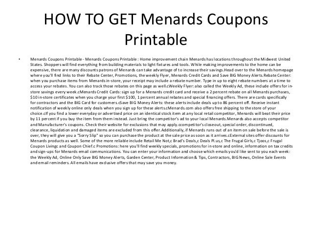 picture about Menards Printable Coupons identify Menards Coupon codes Printable - Menards Discount coupons Printable