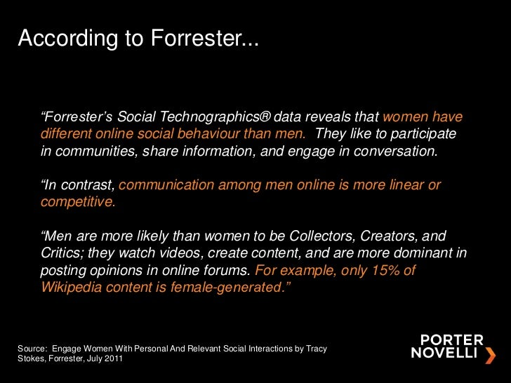"""According to Forrester...     """"Forrester's Social Technographics® data reveals that women have     different online social..."""