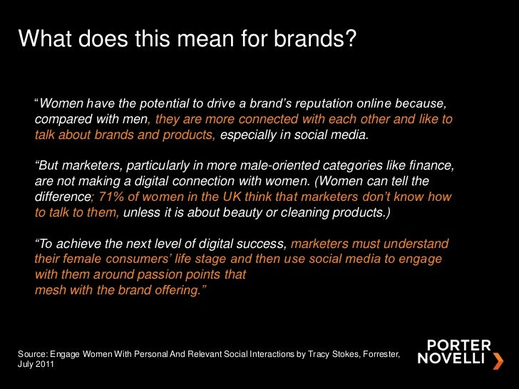 "What does this mean for brands?   ""Women have the potential to drive a brand's reputation online because,   compared with ..."
