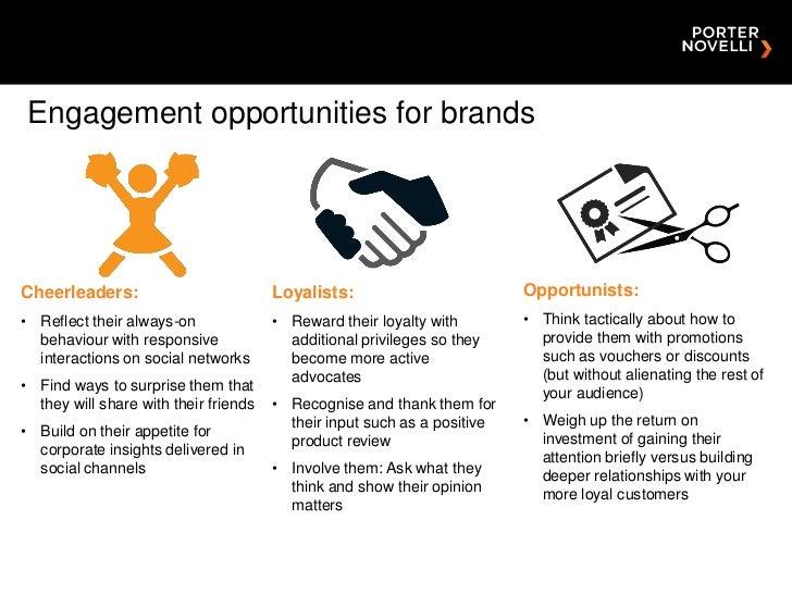 Engagement opportunities for brandsCheerleaders:                          Loyalists:                         Opportunists:...