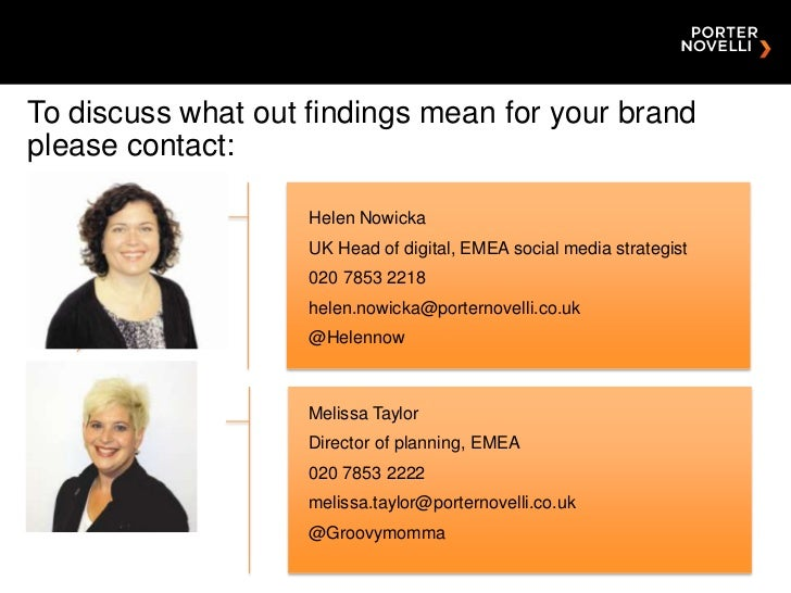 To discuss what out findings mean for your brandplease contact:                    Helen Nowicka                    UK Hea...