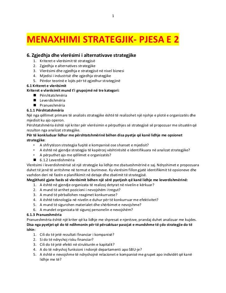 1MENAXHIMI STRATEGJIK- PJESA E 26. Zgjedhja dhe vlerësimi i alternativave strategjike    1. Kriteret e vlerësimit të strat...