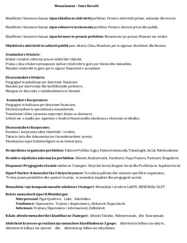 Menaxhment– YmerHavolli Klasifikimi i bizneseve bazuar sipasshkallesseaktivitetitperfshine: Firmat e aktivitetitprimar, se...