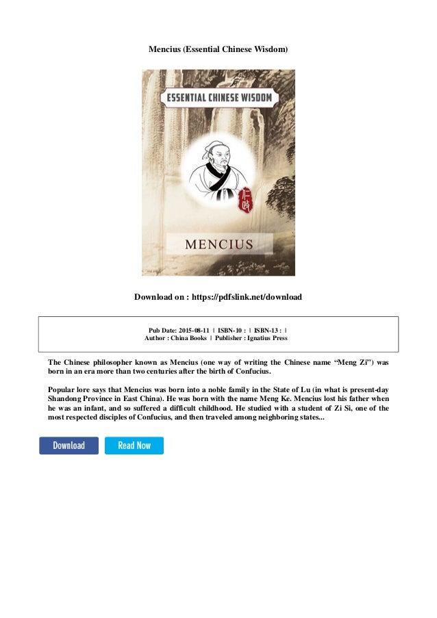 Mencius Essential Chinese Wisdom