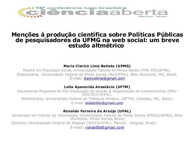 Menções à produção científica sobre Políticas Públicas de pesquisadores da UFMG na web social: um breve estudo altmétrico ...
